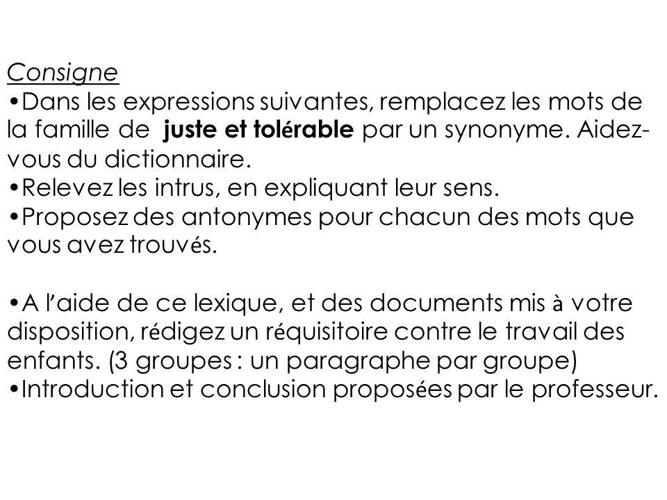 Consigne Dans les expressions suivantes, remplacez les mots de la famille de juste et tolérable par un synonyme. Aidez-vous du dictionnaire.