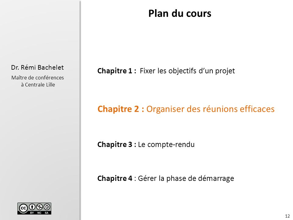 Plan du cours Chapitre 2 : Organiser des réunions efficaces