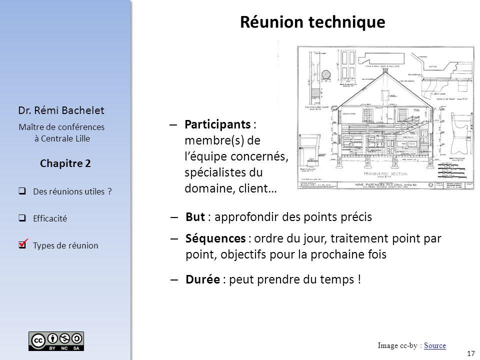 Réunion technique Participants : membre(s) de l'équipe concernés, spécialistes du domaine, client… But : approfondir des points précis.