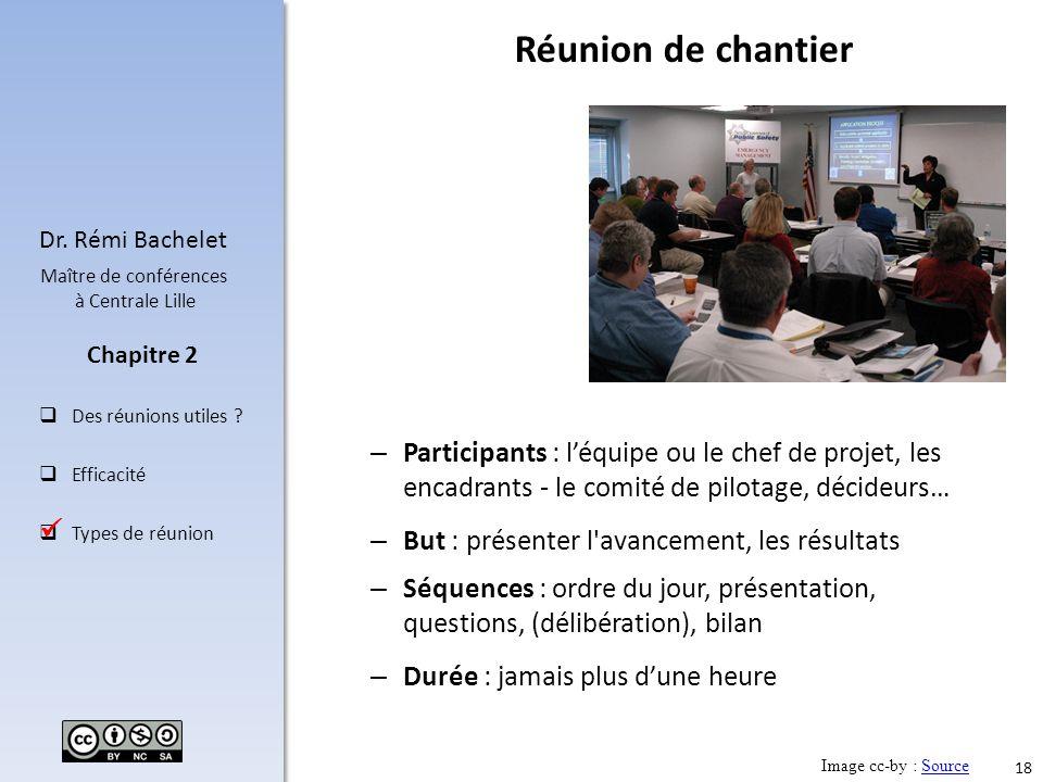 Réunion de chantier Participants : l'équipe ou le chef de projet, les encadrants - le comité de pilotage, décideurs…