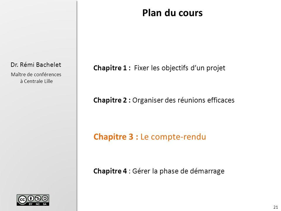 Plan du cours Chapitre 3 : Le compte-rendu