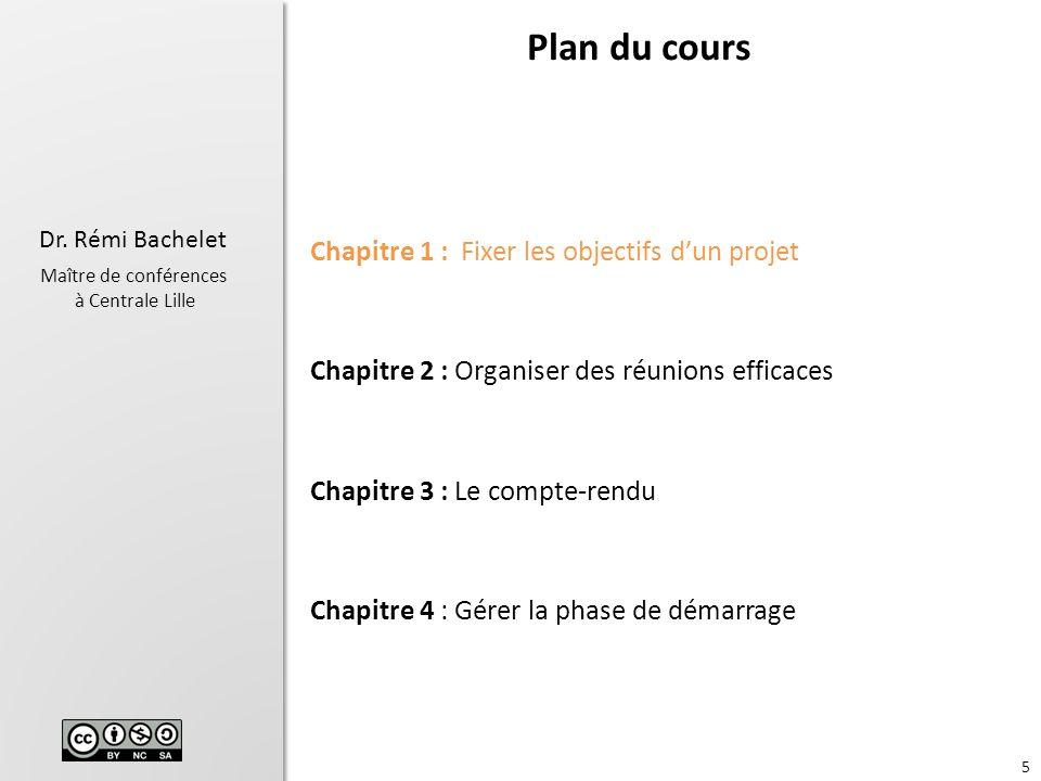 Plan du cours Chapitre 1 : Fixer les objectifs d'un projet