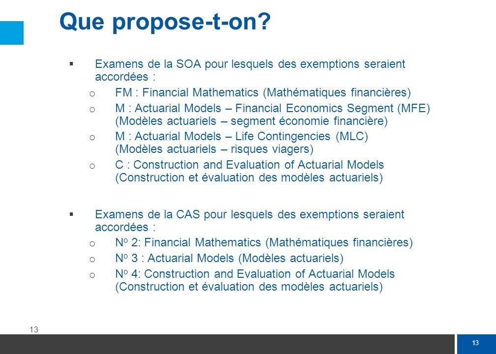 La formation actuarielle prévue dans le cadre de la proposition d'agrément