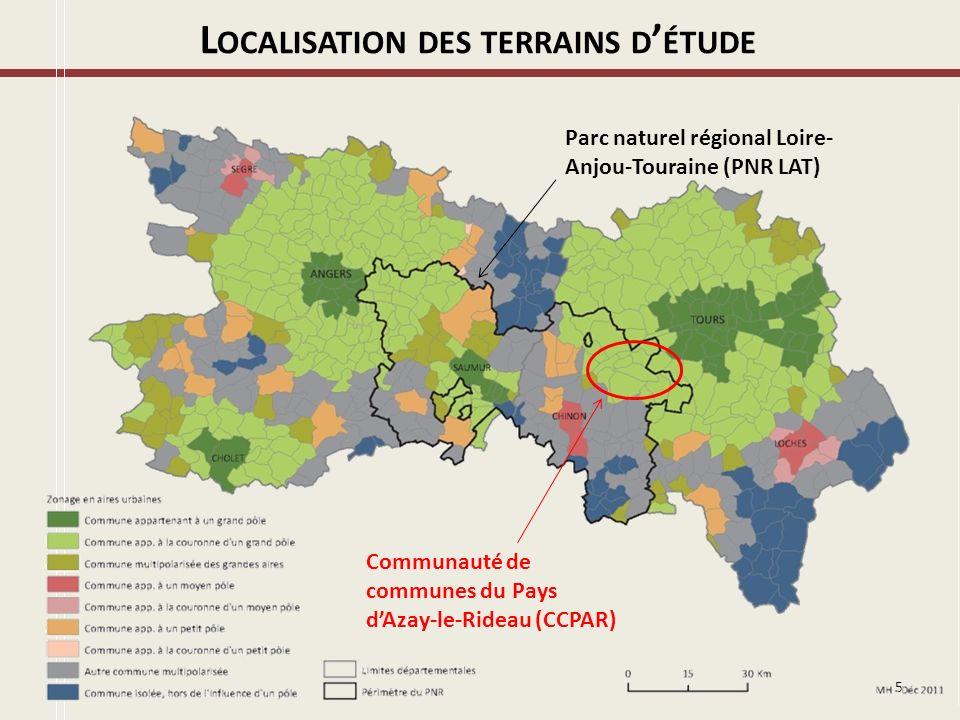 Localisation des terrains d'étude