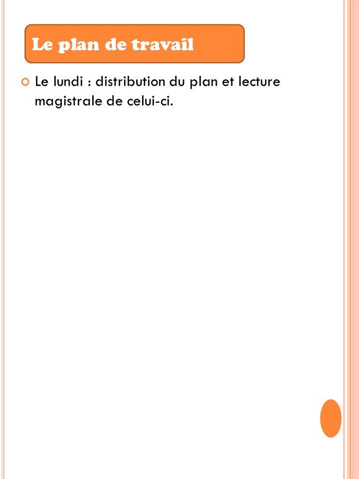Le plan de travail Le lundi : distribution du plan et lecture magistrale de celui-ci.