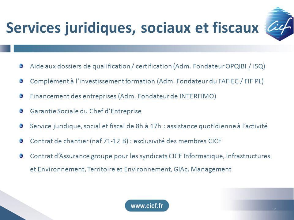 Services juridiques, sociaux et fiscaux
