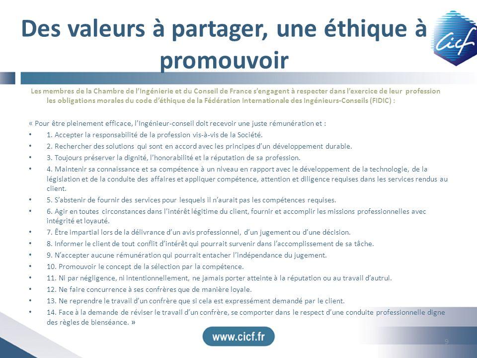 Des valeurs à partager, une éthique à promouvoir