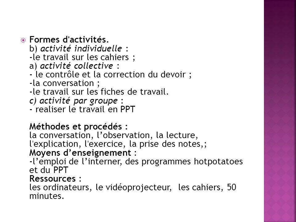 Formes dˈactivités.