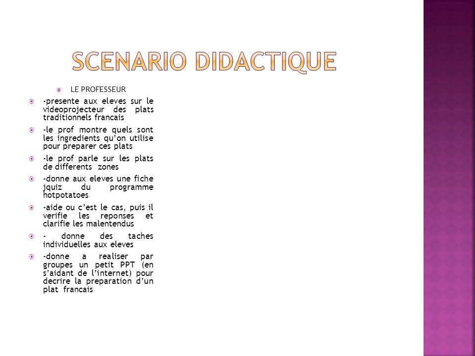 Scenario didactique LE PROFESSEUR. -presente aux eleves sur le videoprojecteur des plats traditionnels francais.