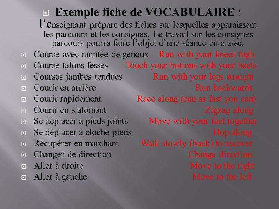 Exemple fiche de VOCABULAIRE : l'enseignant prépare des fiches sur lesquelles apparaissent les parcours et les consignes. Le travail sur les consignes parcours pourra faire l'objet d'une séance en classe.