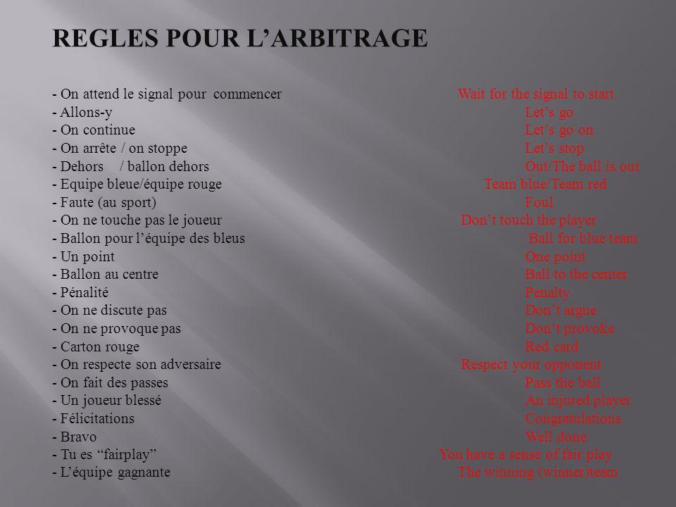 REGLES POUR L'ARBITRAGE
