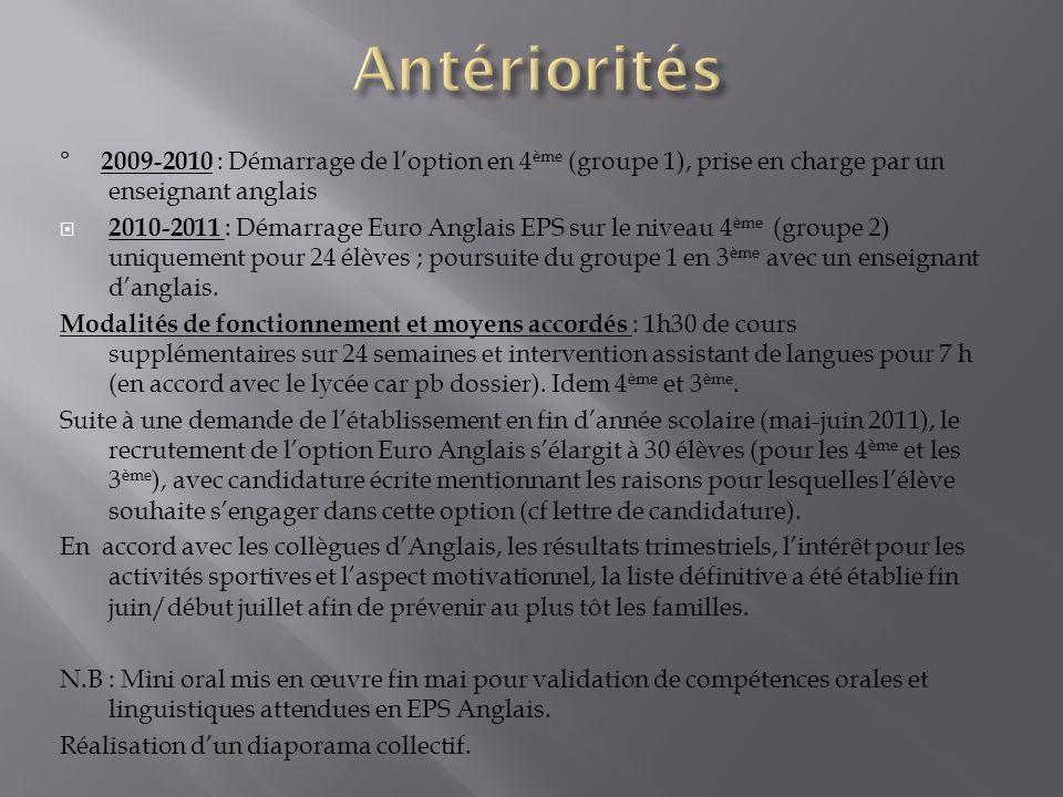 Antériorités ° 2009-2010 : Démarrage de l'option en 4ème (groupe 1), prise en charge par un enseignant anglais.