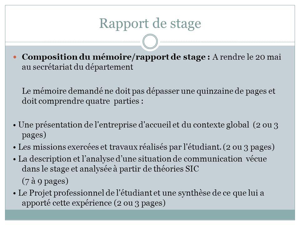 Rapport de stage Composition du mémoire/rapport de stage : A rendre le 20 mai au secrétariat du département.