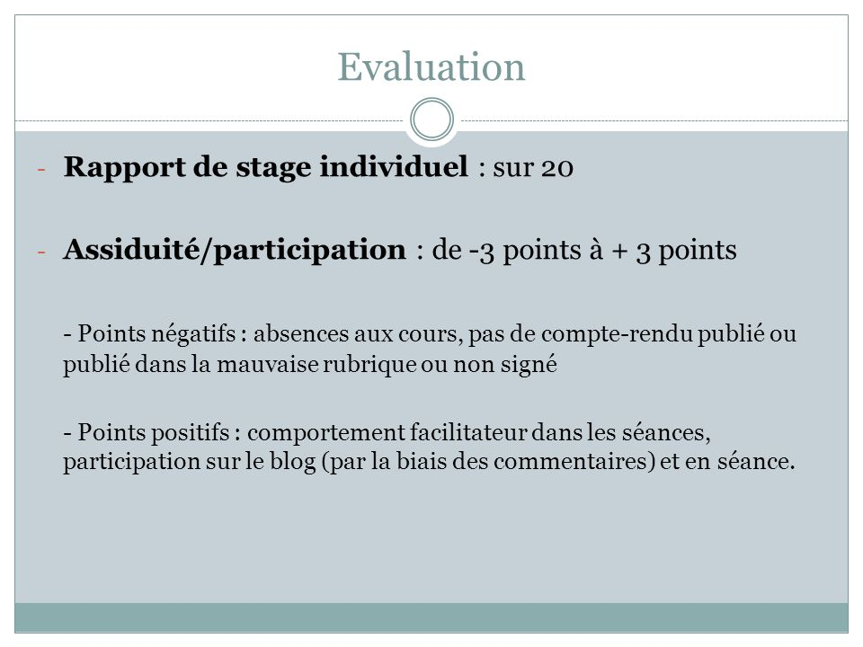 Evaluation Rapport de stage individuel : sur 20