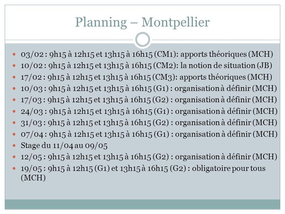Planning – Montpellier