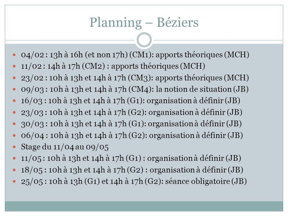 Planning – Béziers 04/02 : 13h à 16h (et non 17h) (CM1): apports théoriques (MCH) 11/02 : 14h à 17h (CM2) : apports théoriques (MCH)