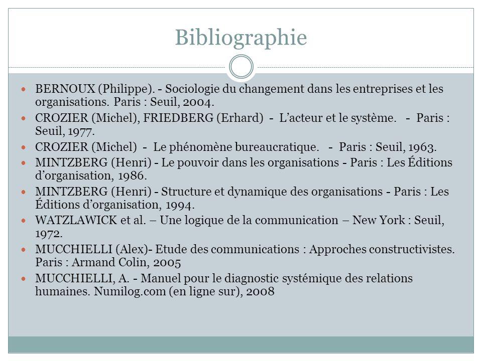 Bibliographie BERNOUX (Philippe). - Sociologie du changement dans les entreprises et les organisations. Paris : Seuil, 2004.