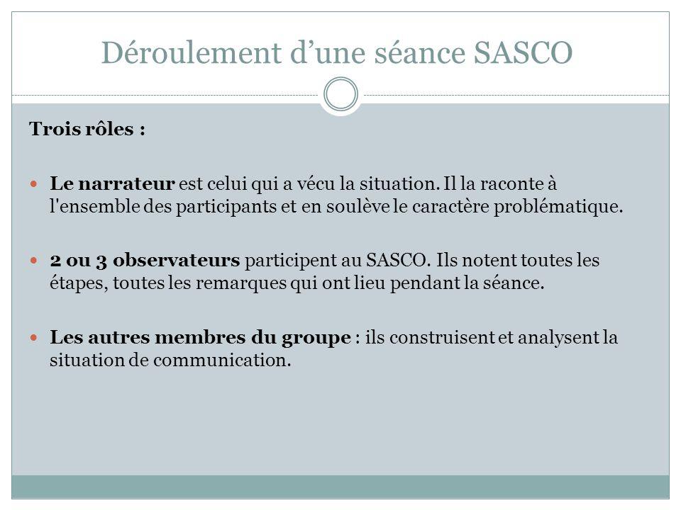 Déroulement d'une séance SASCO