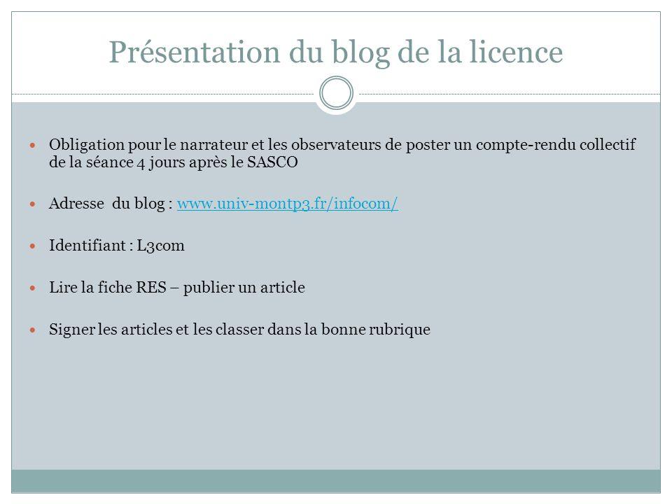 Présentation du blog de la licence