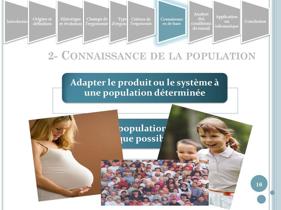 2- Connaissance de la population