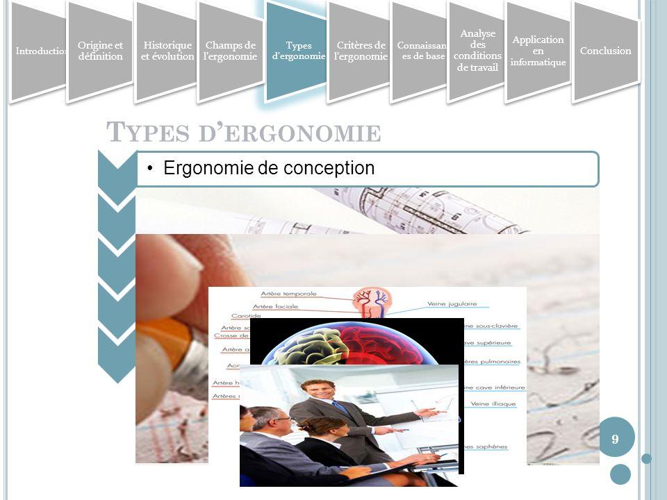 Types d'ergonomie Ergonomie de conception Ergonomie de correction