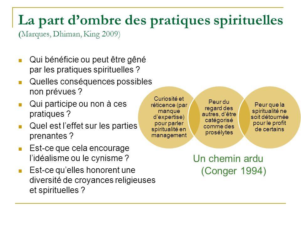 La part d'ombre des pratiques spirituelles (Marques, Dhiman, King 2009)