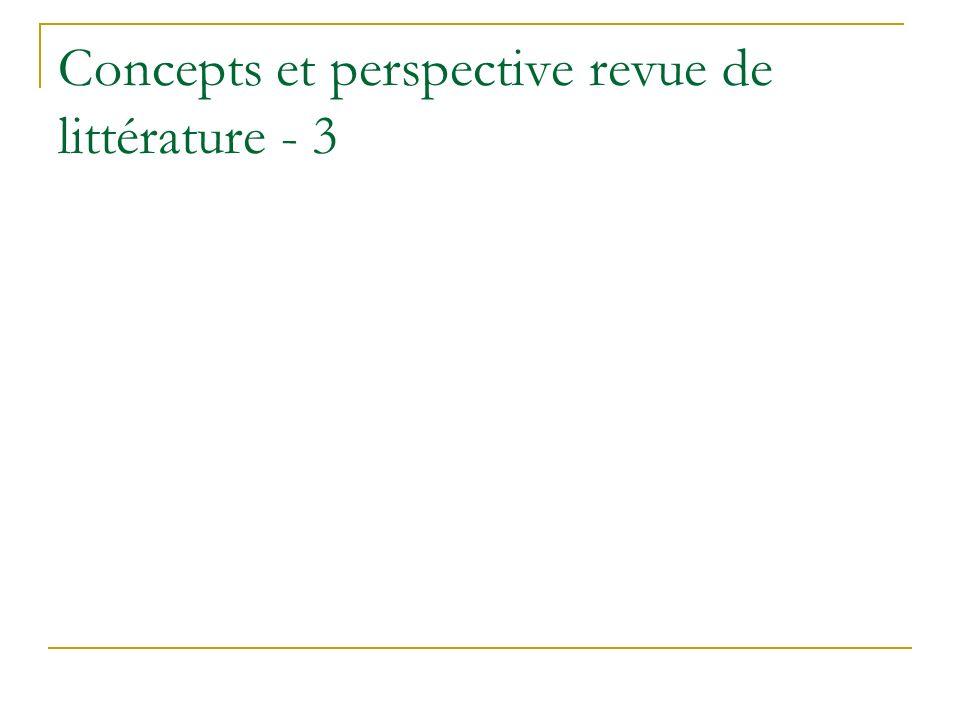 Concepts et perspective revue de littérature - 3