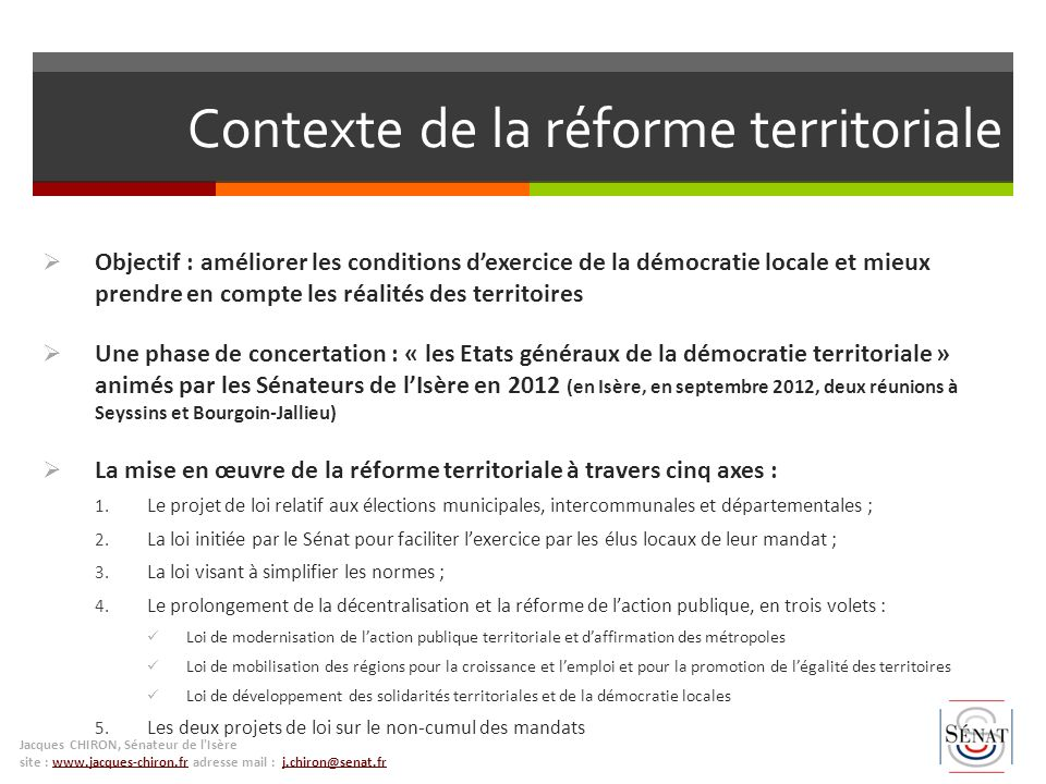 Contexte de la réforme territoriale