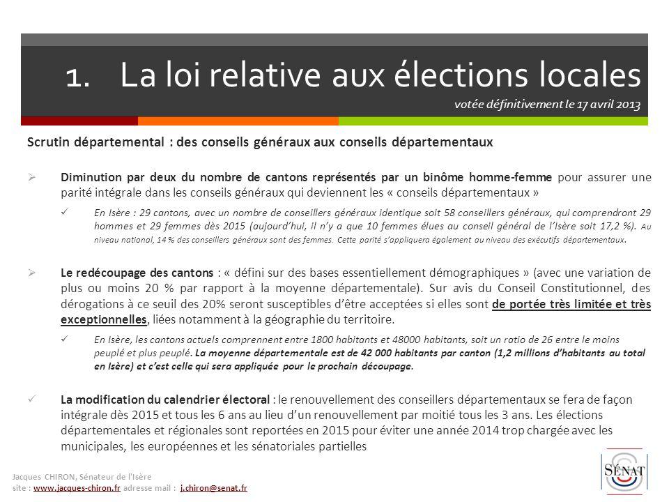 La loi relative aux élections locales votée définitivement le 17 avril 2013