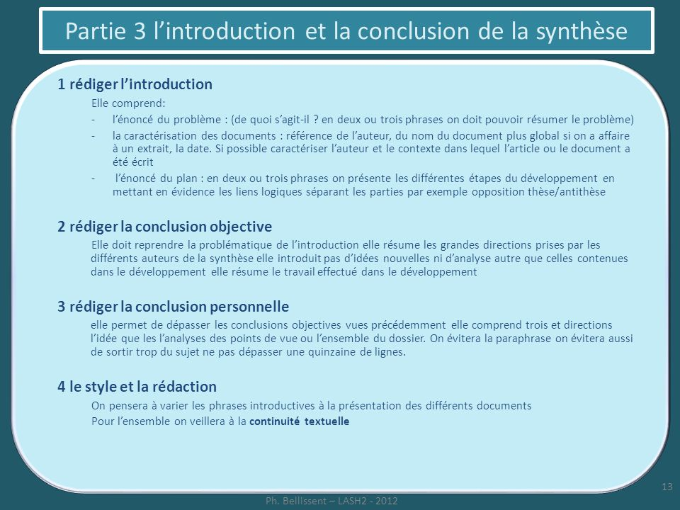 Partie 3 l'introduction et la conclusion de la synthèse