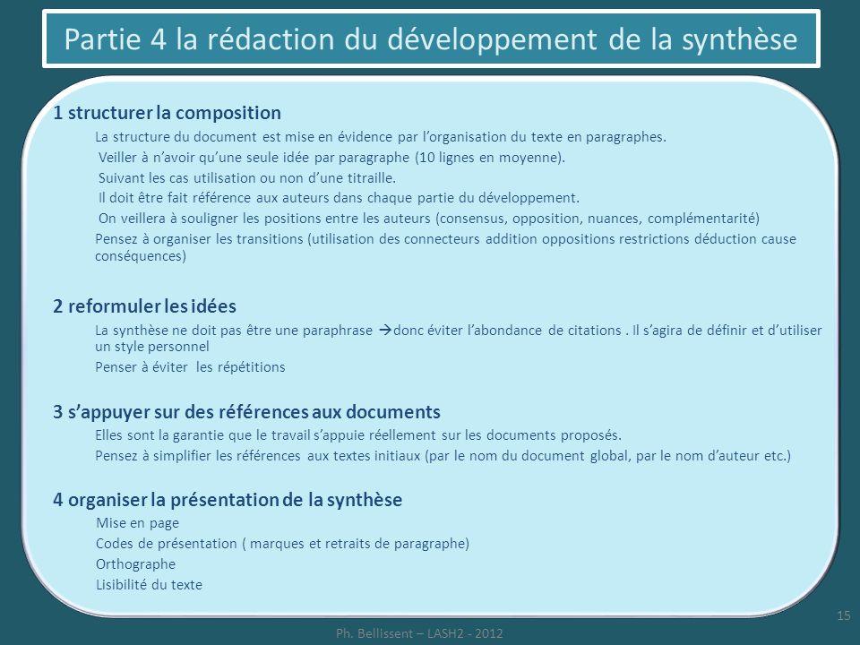 Partie 4 la rédaction du développement de la synthèse