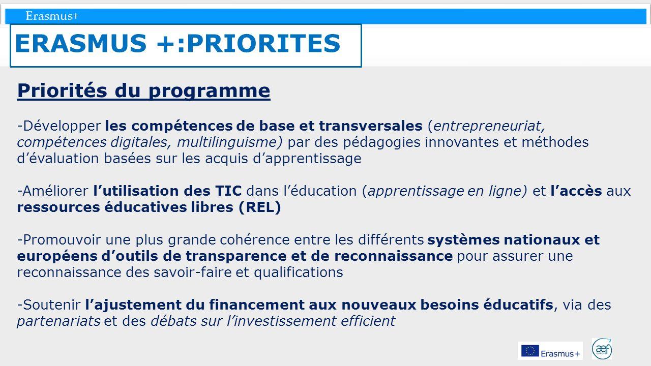 ERASMUS +:PRIORITES Priorités du programme
