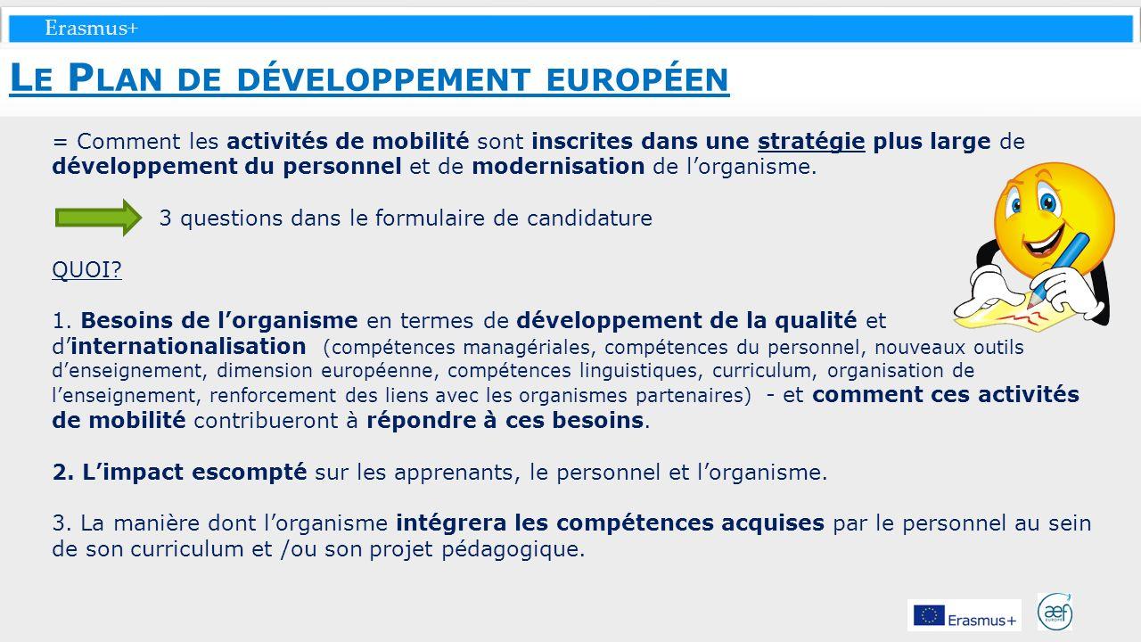 Le Plan de développement européen