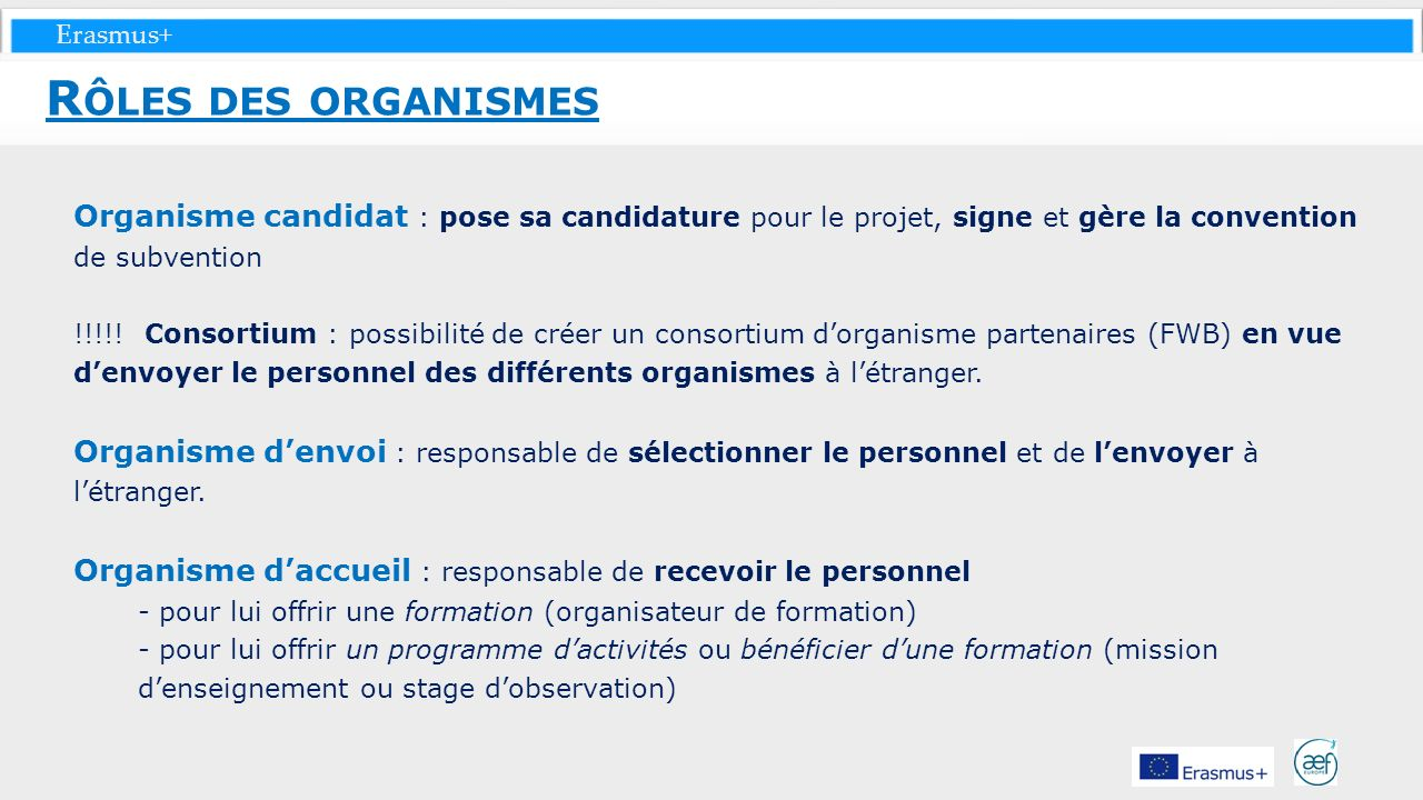Rôles des organismes Organisme candidat : pose sa candidature pour le projet, signe et gère la convention de subvention.