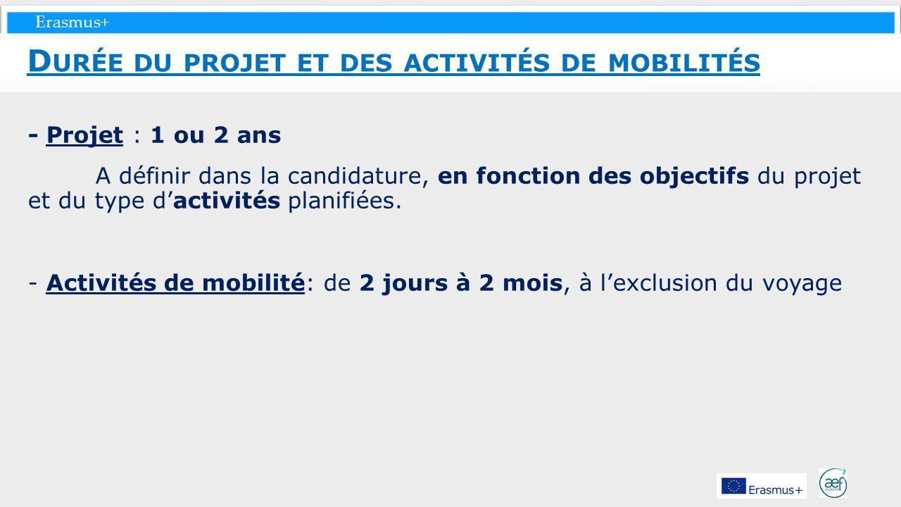 Durée du projet et des activités de mobilités