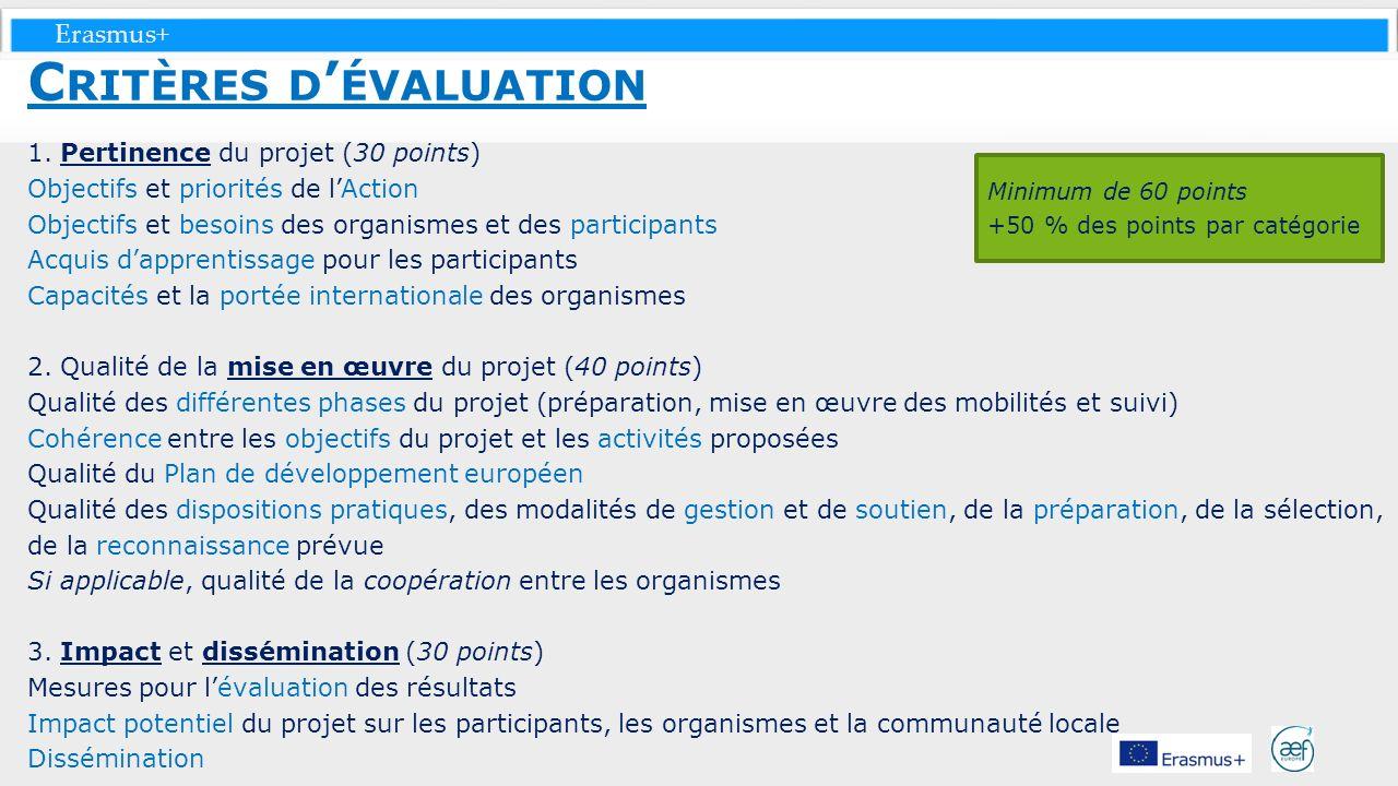 Critères d'évaluation