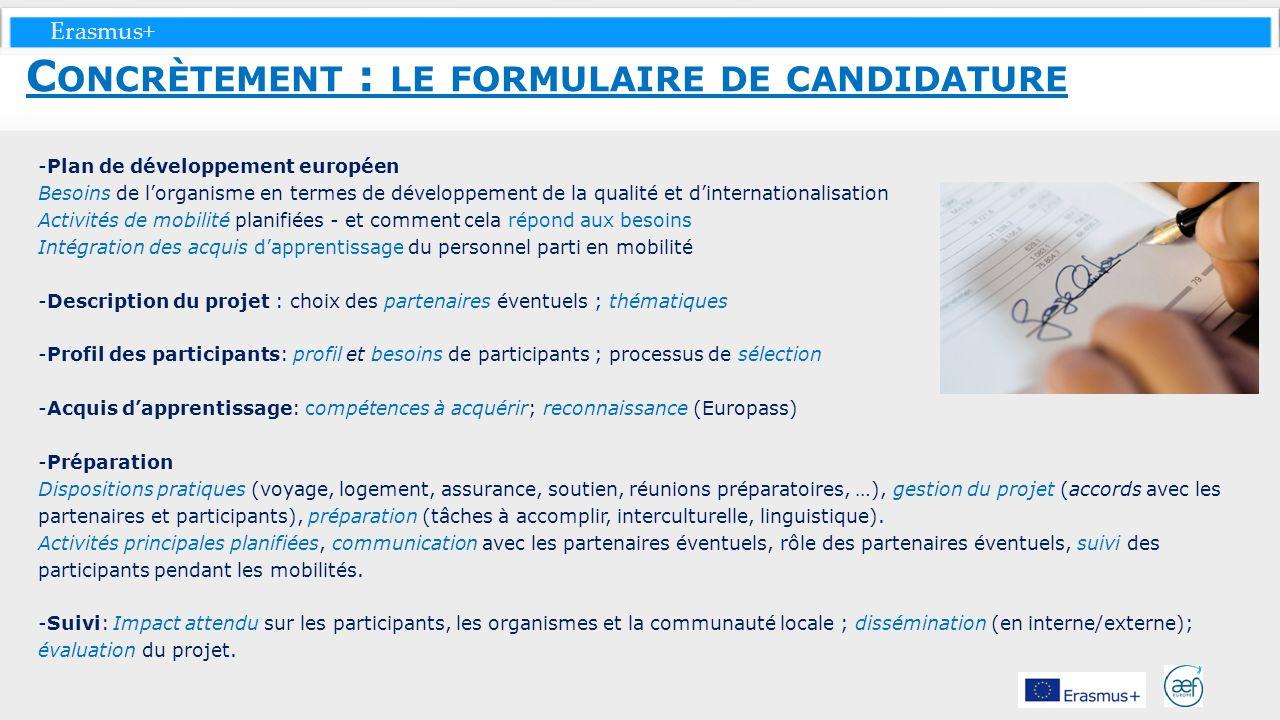 Concrètement : le formulaire de candidature