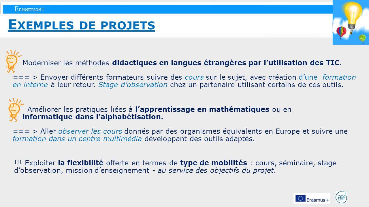 Exemples de projets Moderniser les méthodes didactiques en langues étrangères par l'utilisation des TIC.