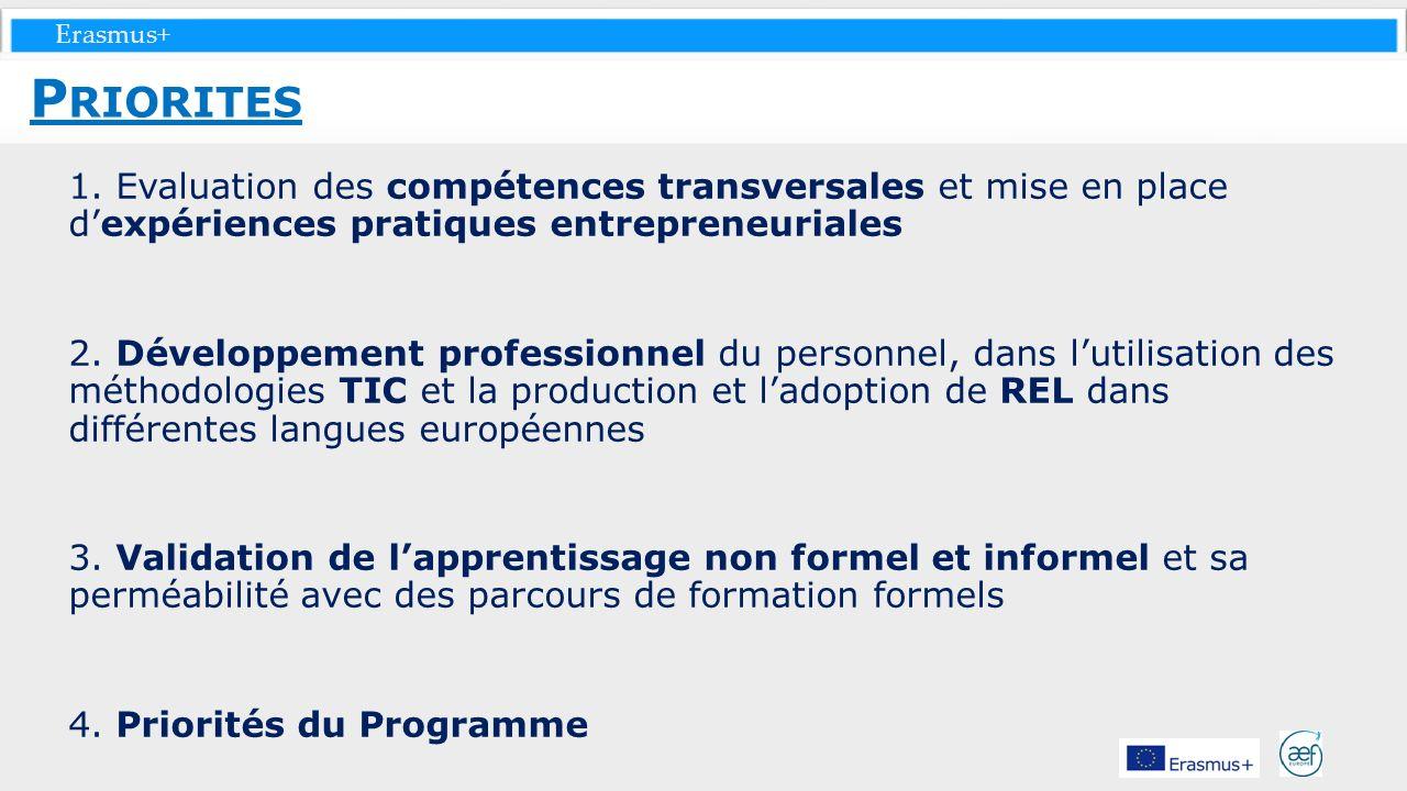 Priorites 1. Evaluation des compétences transversales et mise en place d'expériences pratiques entrepreneuriales.