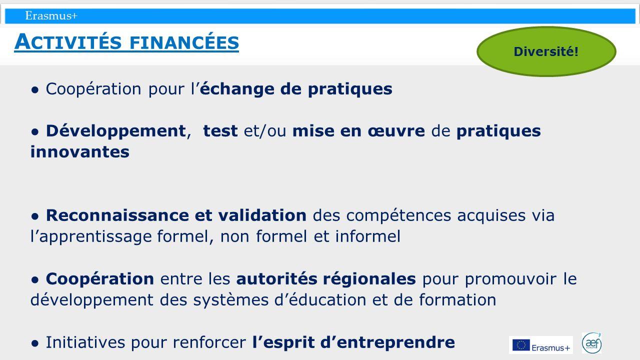 Activités financées ● Coopération pour l'échange de pratiques