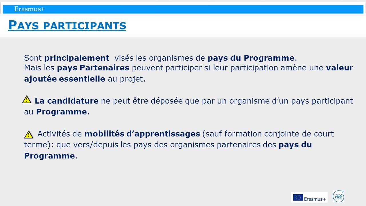 Pays participants Sont principalement visés les organismes de pays du Programme.