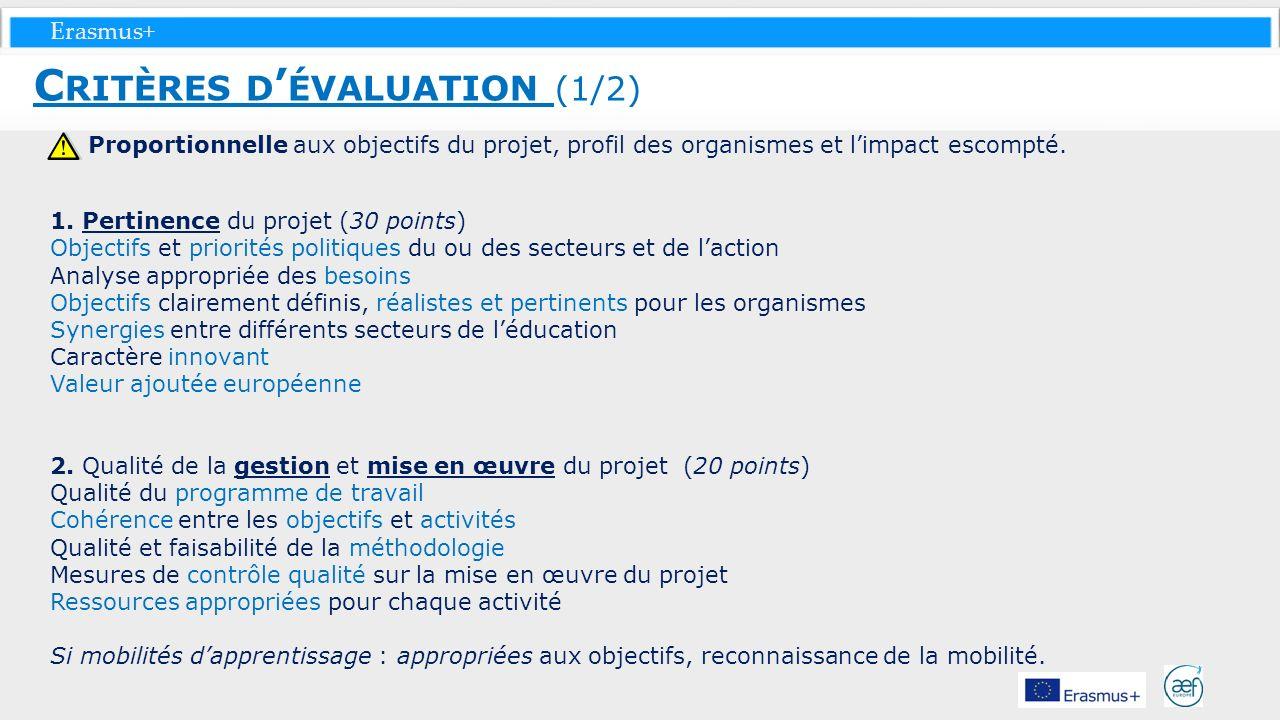 Critères d'évaluation (1/2)