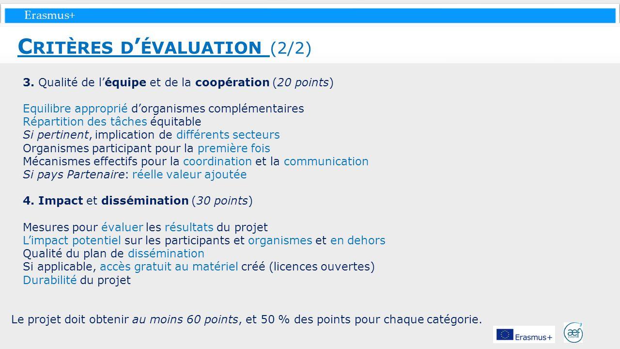 Critères d'évaluation (2/2)