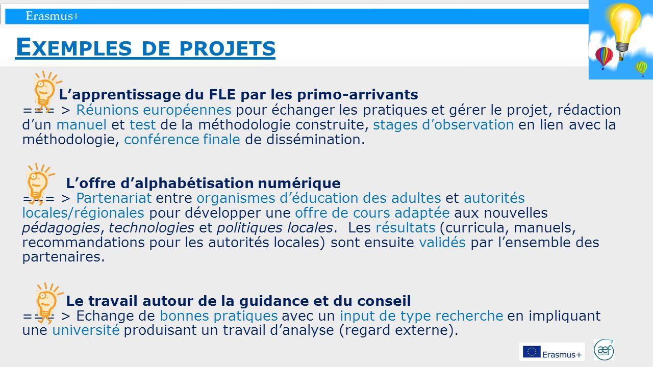 Exemples de projets L'apprentissage du FLE par les primo-arrivants