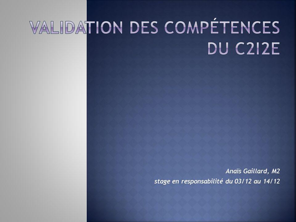Validation des compétences du C2i2e