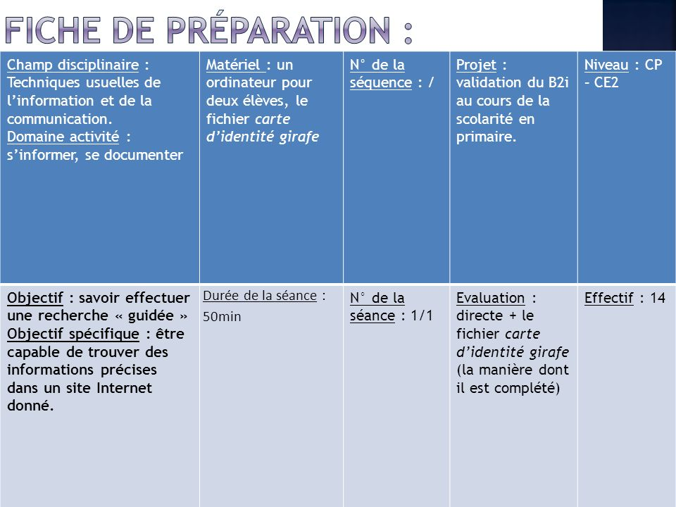Fiche de préparation : Champ disciplinaire : Techniques usuelles de l'information et de la communication.