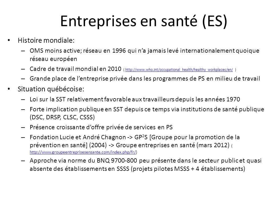 Entreprises en santé (ES)