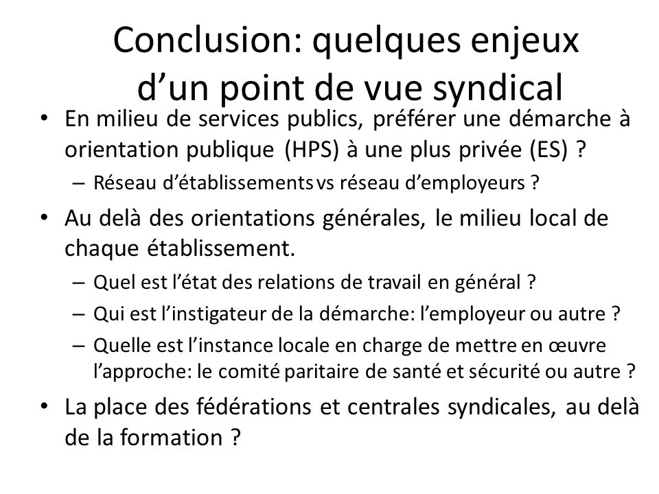 Conclusion: quelques enjeux d'un point de vue syndical