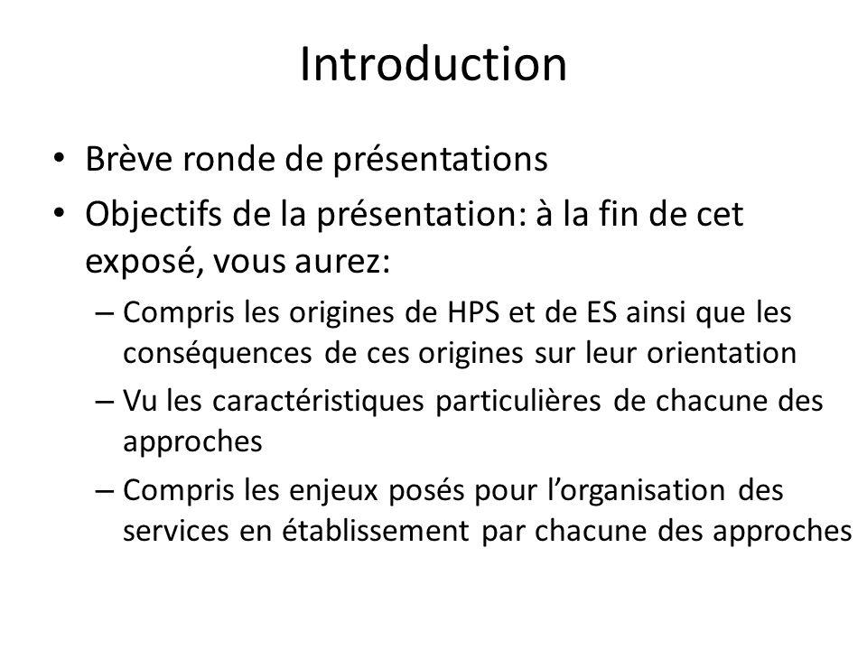 Introduction Brève ronde de présentations