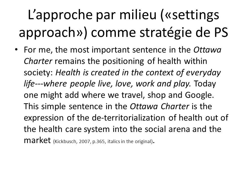L'approche par milieu («settings approach») comme stratégie de PS